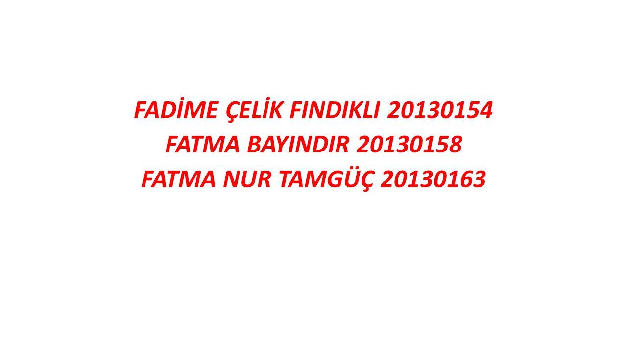 FADİME ÇELİK FINDIKLI 20130154 FATMA BAYINDIR 20130158 FATMA NUR TAMGÜÇ 20130163