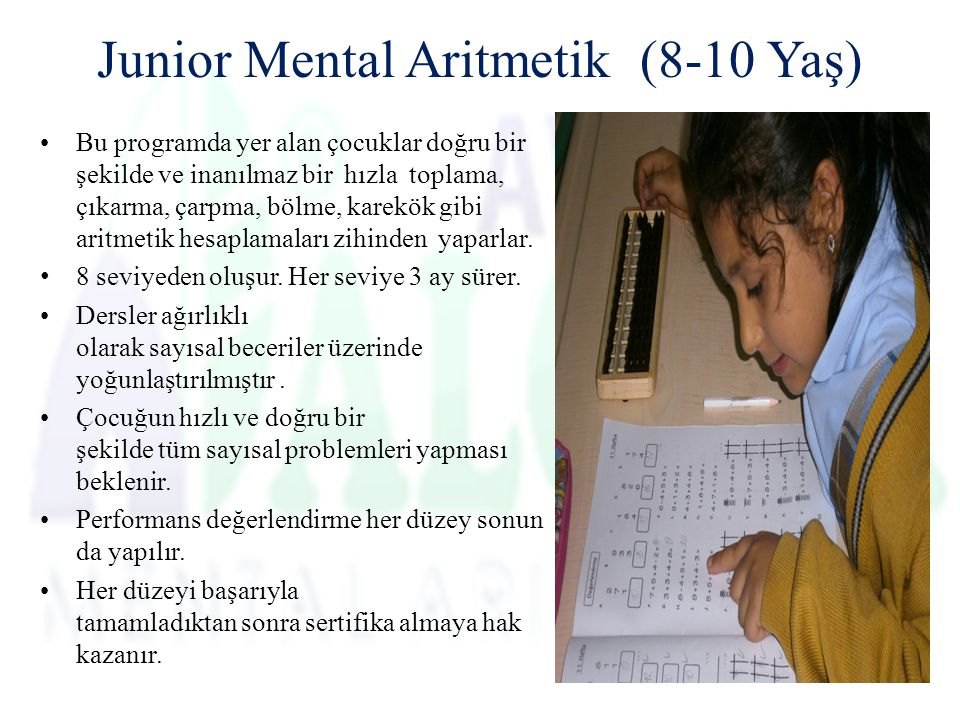 Junior Mental Aritmetik (8-10 Yaş)