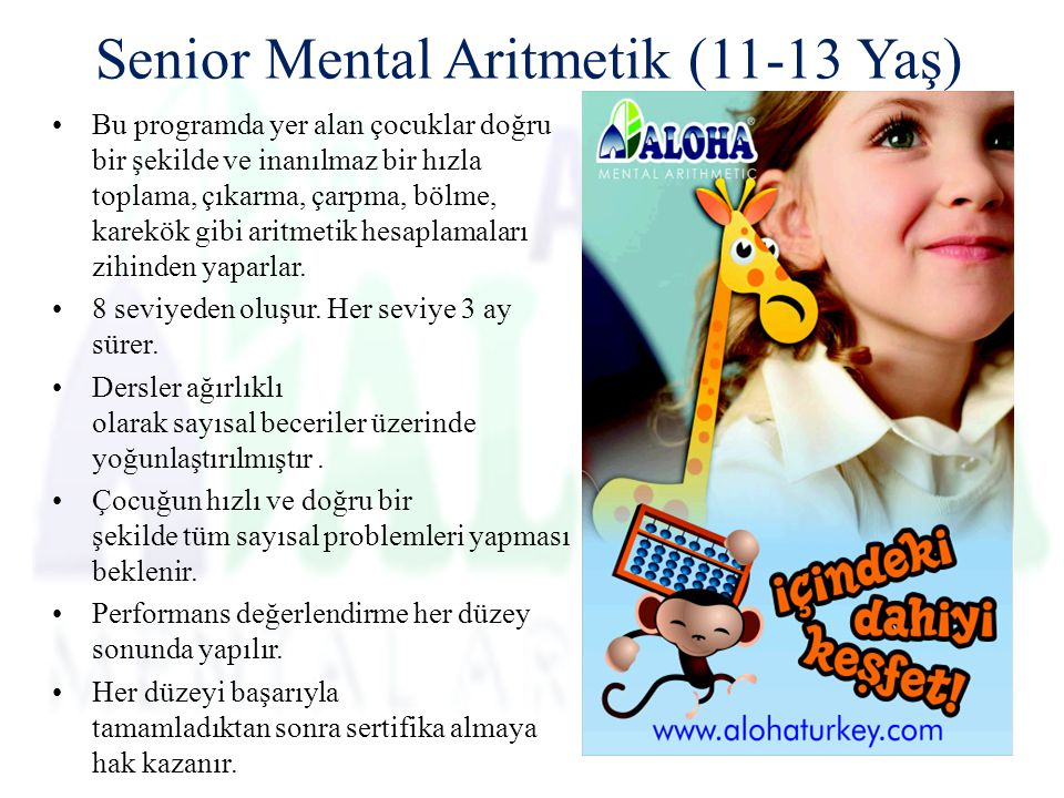 Senior Mental Aritmetik (11-13 Yaş)