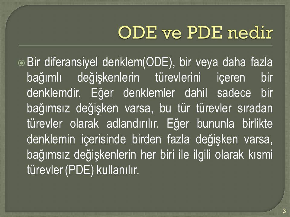 ODE ve PDE nedir