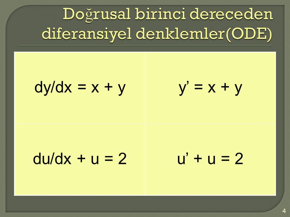 Doğrusal birinci dereceden diferansiyel denklemler(ODE)