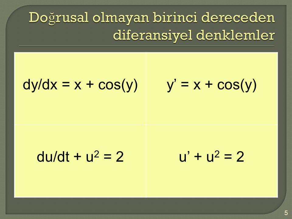 Doğrusal olmayan birinci dereceden diferansiyel denklemler