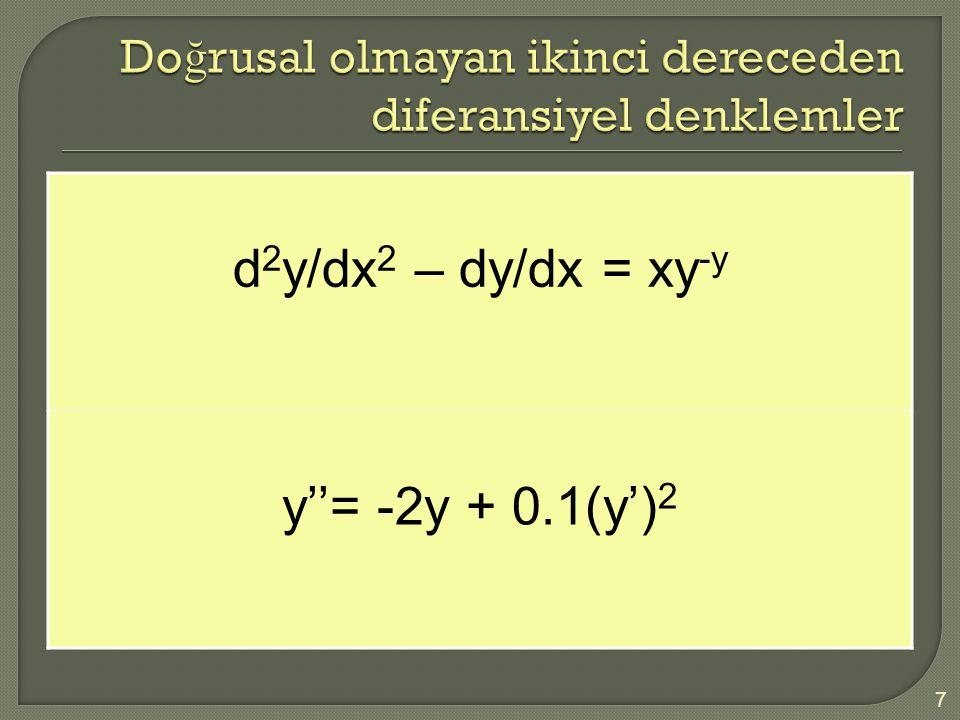 Doğrusal olmayan ikinci dereceden diferansiyel denklemler