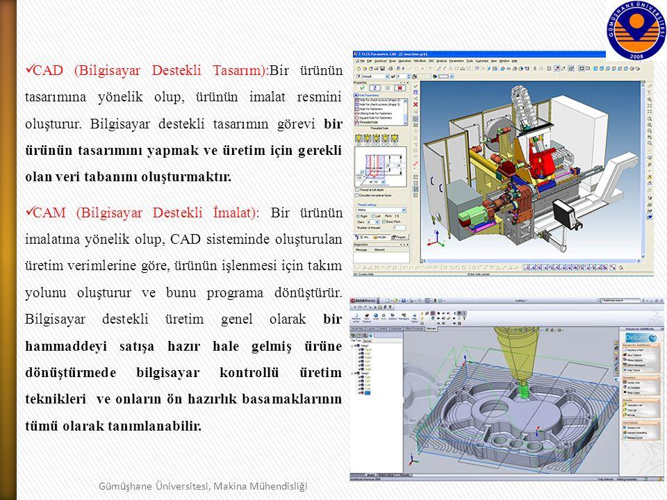 CAD (Bilgisayar Destekli Tasarım):Bir ürünün tasarımına yönelik olup, ürünün imalat resmini oluşturur. Bilgisayar destekli tasarımın görevi bir ürünün tasarımını yapmak ve üretim için gerekli olan veri tabanını oluşturmaktır.