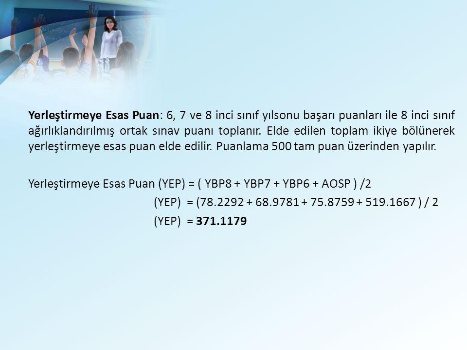 Yerleştirmeye Esas Puan: 6, 7 ve 8 inci sınıf yılsonu başarı puanları ile 8 inci sınıf ağırlıklandırılmış ortak sınav puanı toplanır. Elde edilen toplam ikiye bölünerek yerleştirmeye esas puan elde edilir. Puanlama 500 tam puan üzerinden yapılır.