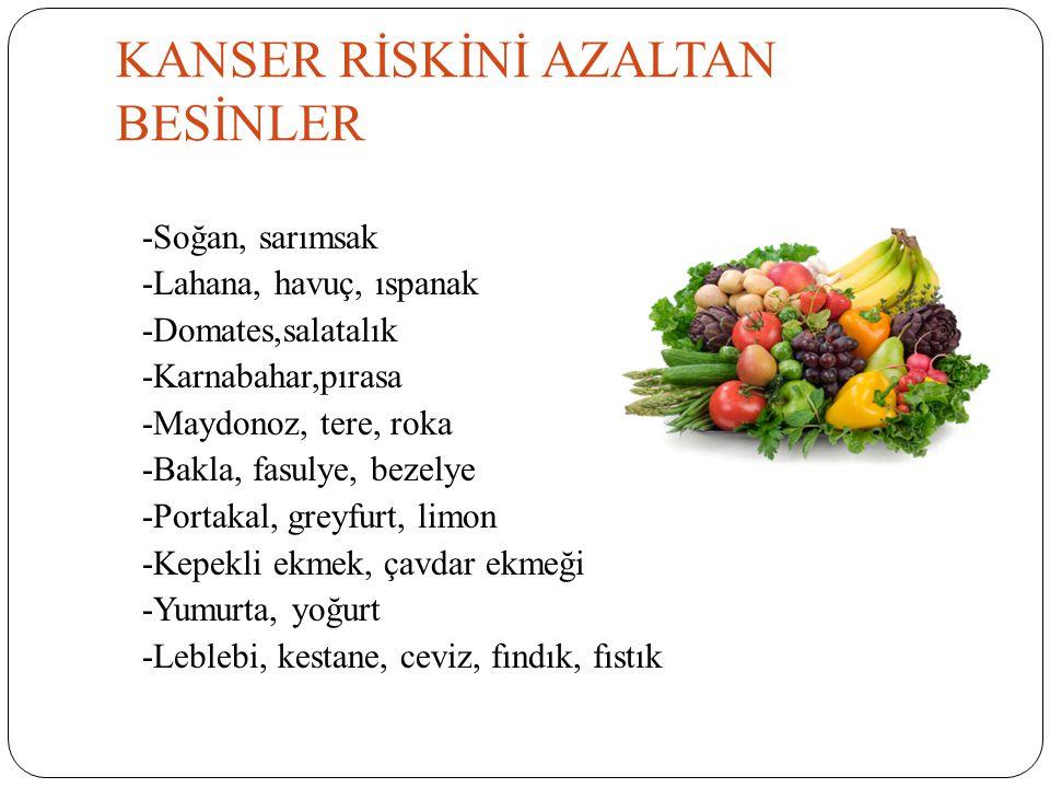 KANSER RİSKİNİ AZALTAN BESİNLER