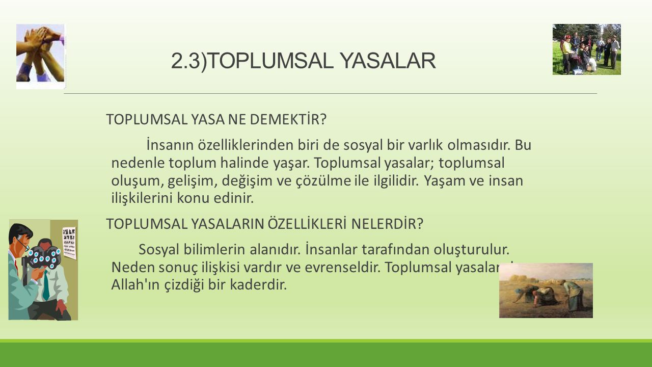 2.3)TOPLUMSAL YASALAR