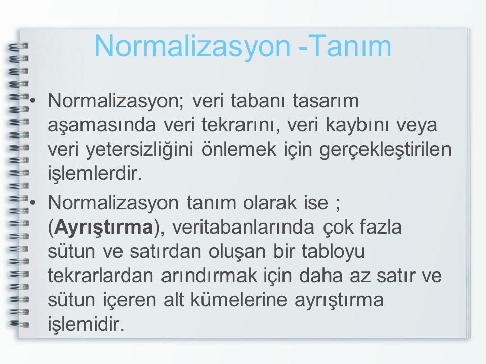 Normalizasyon -Tanım