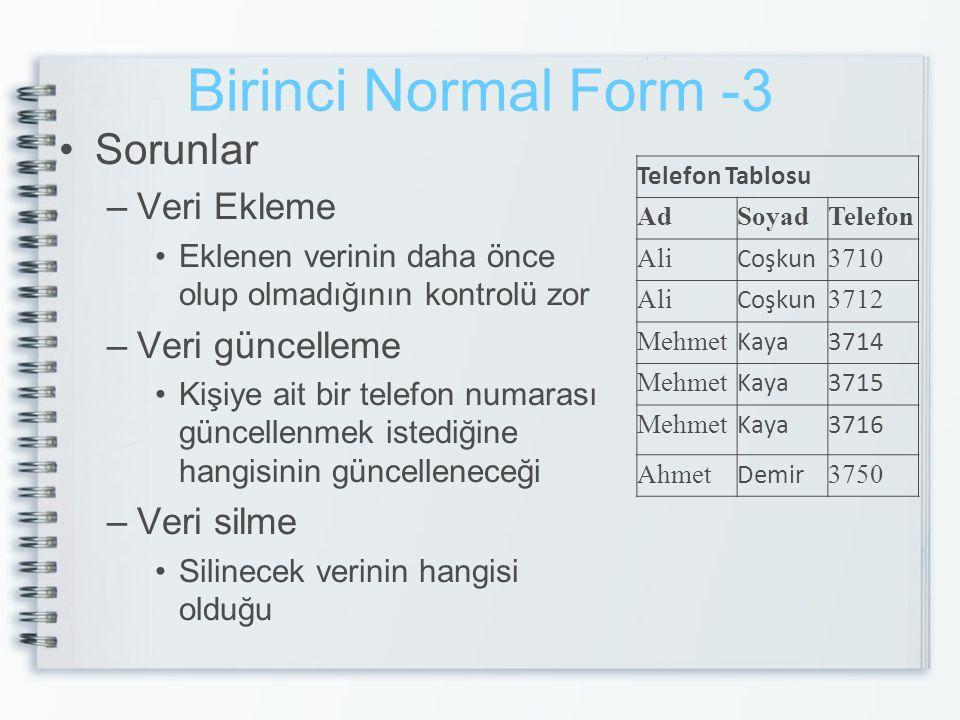 Birinci Normal Form -3 Sorunlar Veri Ekleme Veri güncelleme Veri silme