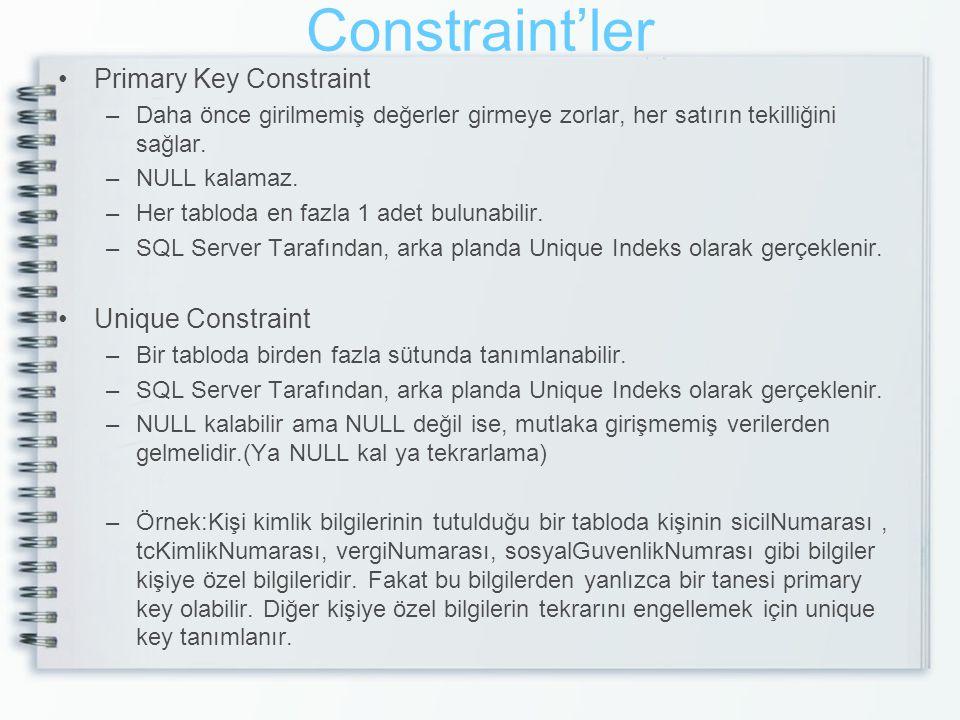 Constraint'ler Primary Key Constraint Unique Constraint