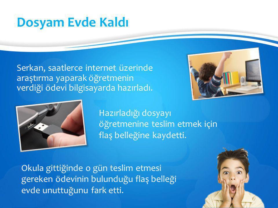 Dosyam Evde Kaldı Serkan, saatlerce internet üzerinde araştırma yaparak öğretmenin verdiği ödevi bilgisayarda hazırladı.