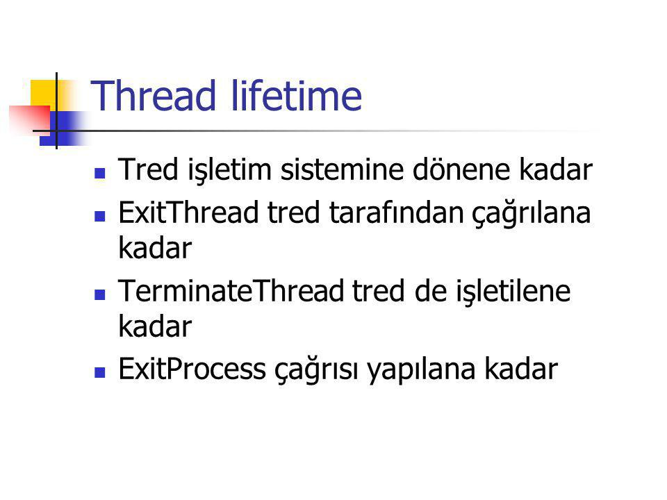 Thread lifetime Tred işletim sistemine dönene kadar