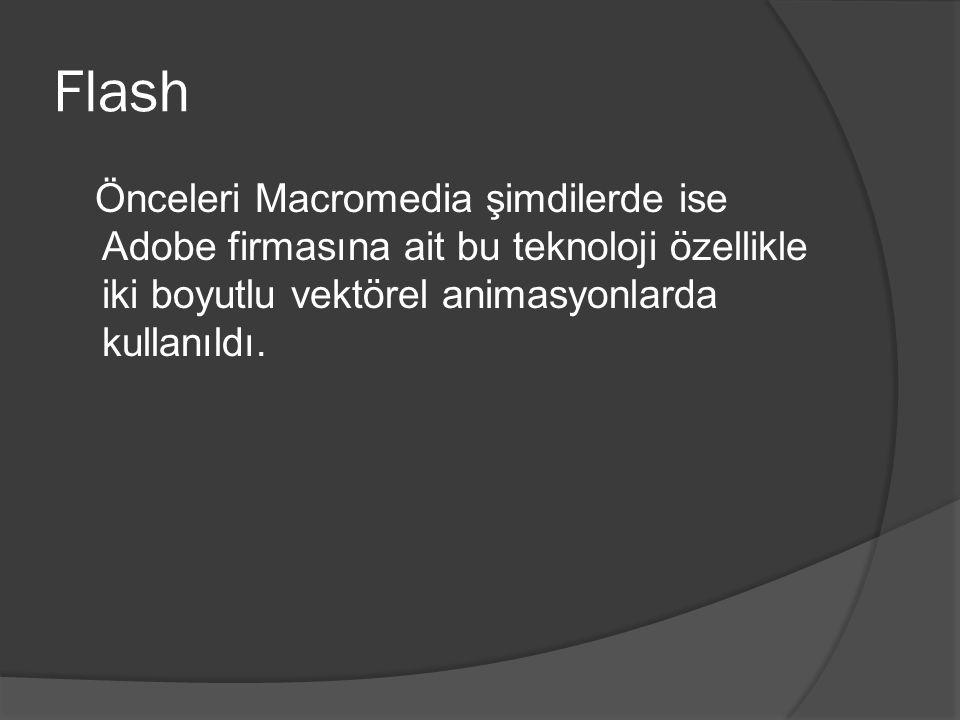 Flash Önceleri Macromedia şimdilerde ise Adobe firmasına ait bu teknoloji özellikle iki boyutlu vektörel animasyonlarda kullanıldı.