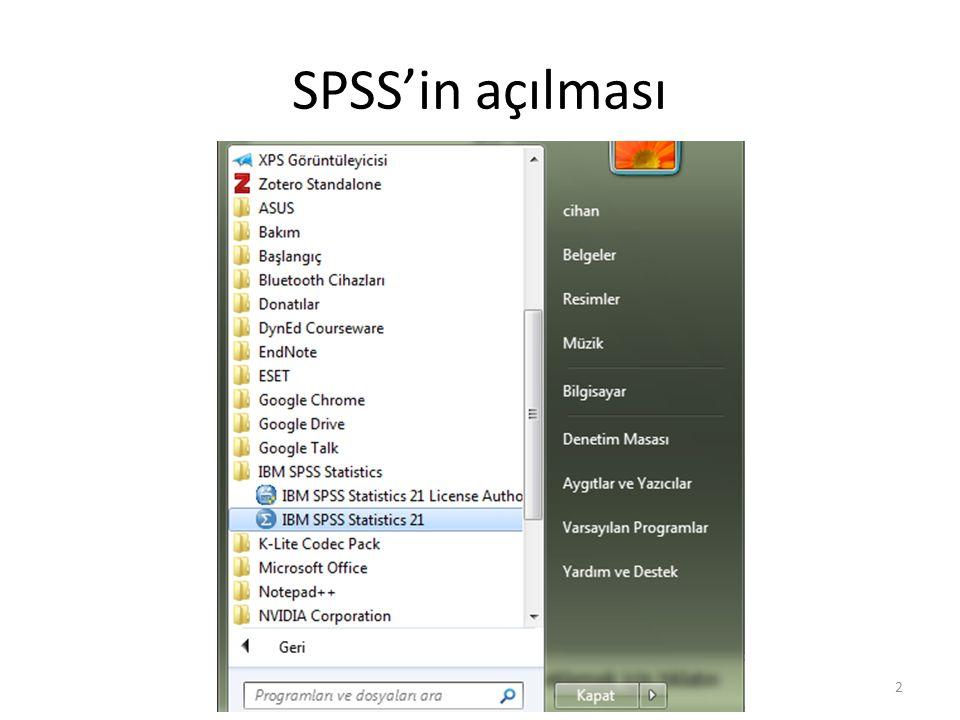 SPSS'in açılması