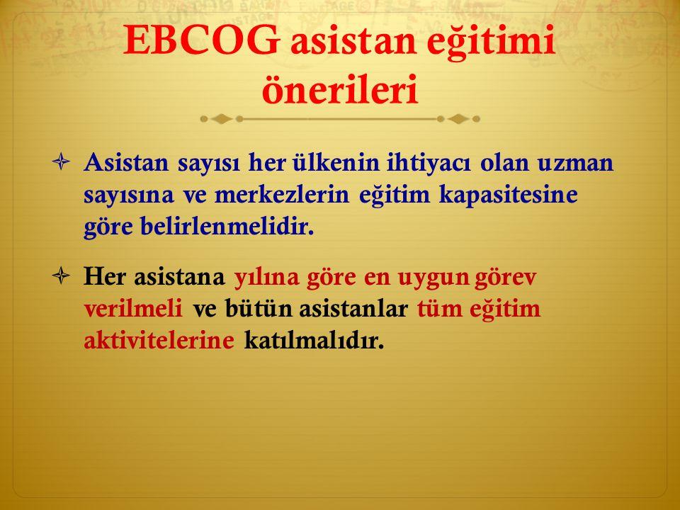 EBCOG asistan eğitimi önerileri