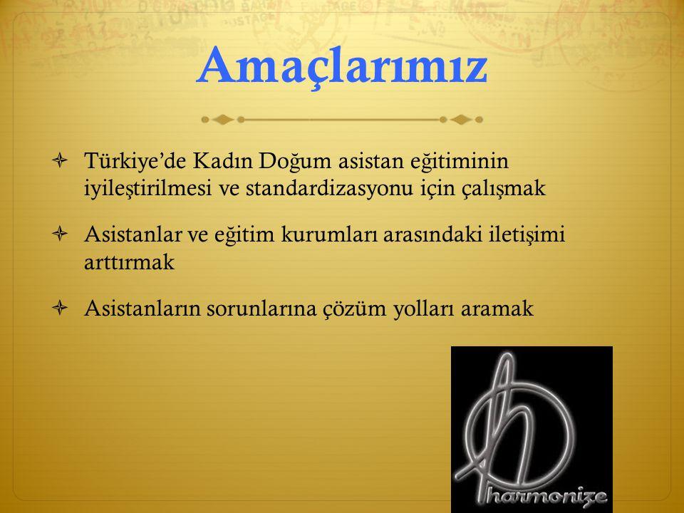 Amaçlarımız Türkiye'de Kadın Doğum asistan eğitiminin iyileştirilmesi ve standardizasyonu için çalışmak.