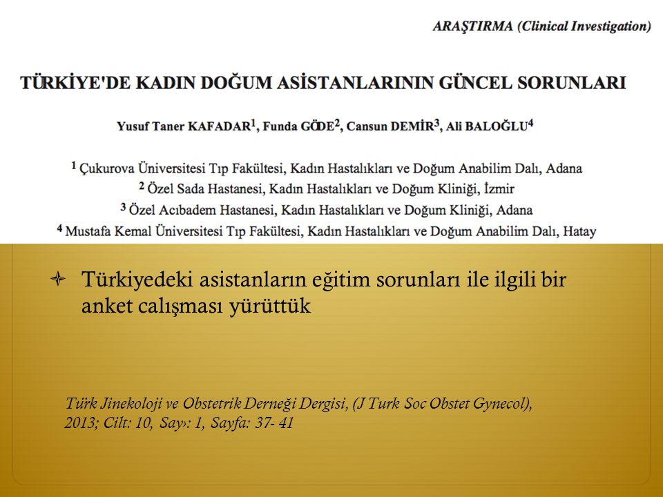Türkiyedeki asistanların eğitim sorunları ile ilgili bir anket calışması yürüttük