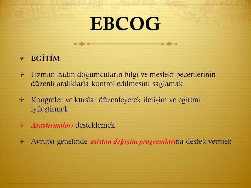 EBCOG EĞİTİM. Uzman kadın doğumcuların bilgi ve mesleki becerilerinin düzenli aralıklarla kontrol edilmesini sağlamak.