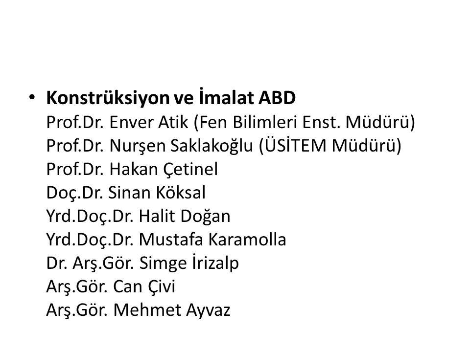 Konstrüksiyon ve İmalat ABD Prof. Dr. Enver Atik (Fen Bilimleri Enst