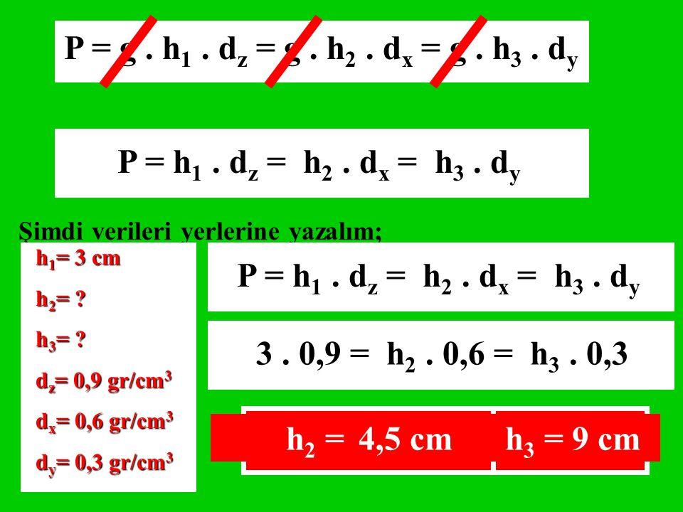 P = g . h1 . dz = g . h2 . dx = g . h3 . dy P = h1 . dz = h2 . dx = h3 . dy. Şimdi verileri yerlerine yazalım;