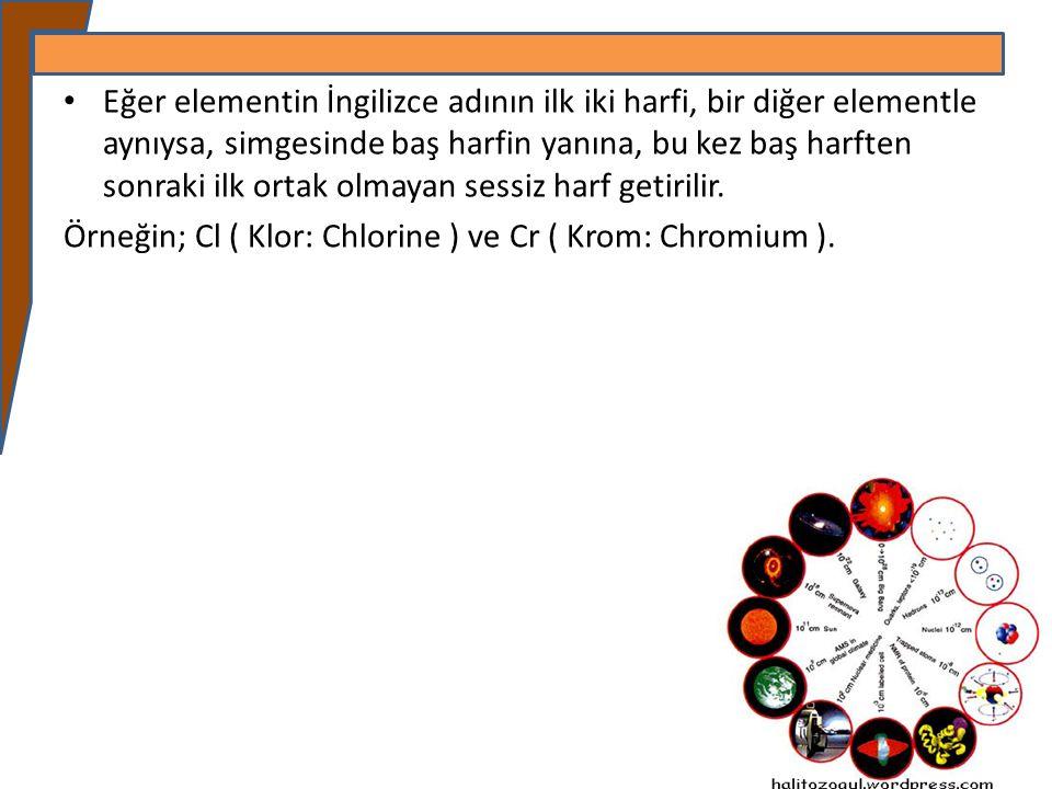Eğer elementin İngilizce adının ilk iki harfi, bir diğer elementle aynıysa, simgesinde baş harfin yanına, bu kez baş harften sonraki ilk ortak olmayan sessiz harf getirilir.