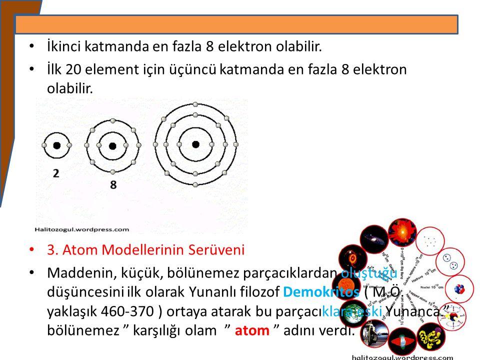 İkinci katmanda en fazla 8 elektron olabilir.