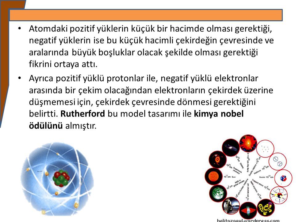 Atomdaki pozitif yüklerin küçük bir hacimde olması gerektiği, negatif yüklerin ise bu küçük hacimli çekirdeğin çevresinde ve aralarında büyük boşluklar olacak şekilde olması gerektiği fikrini ortaya attı.