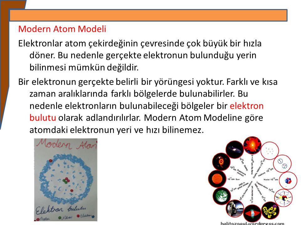 Modern Atom Modeli Elektronlar atom çekirdeğinin çevresinde çok büyük bir hızla döner.