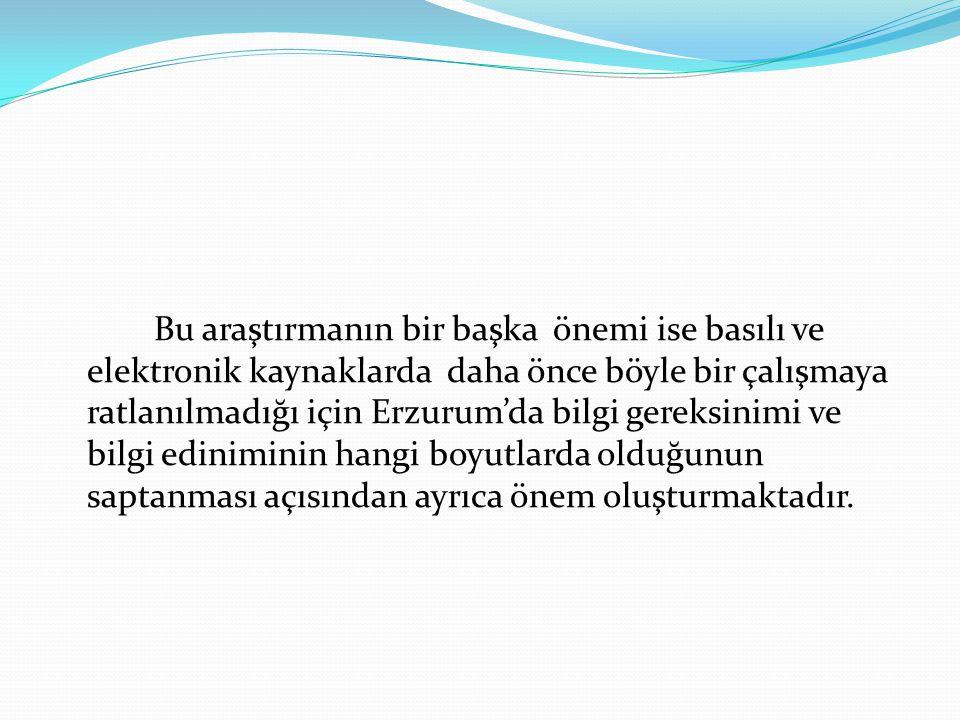 Bu araştırmanın bir başka önemi ise basılı ve elektronik kaynaklarda daha önce böyle bir çalışmaya ratlanılmadığı için Erzurum'da bilgi gereksinimi ve bilgi ediniminin hangi boyutlarda olduğunun saptanması açısından ayrıca önem oluşturmaktadır.