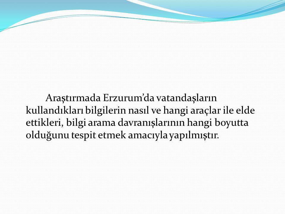 Araştırmada Erzurum'da vatandaşların kullandıkları bilgilerin nasıl ve hangi araçlar ile elde ettikleri, bilgi arama davranışlarının hangi boyutta olduğunu tespit etmek amacıyla yapılmıştır.