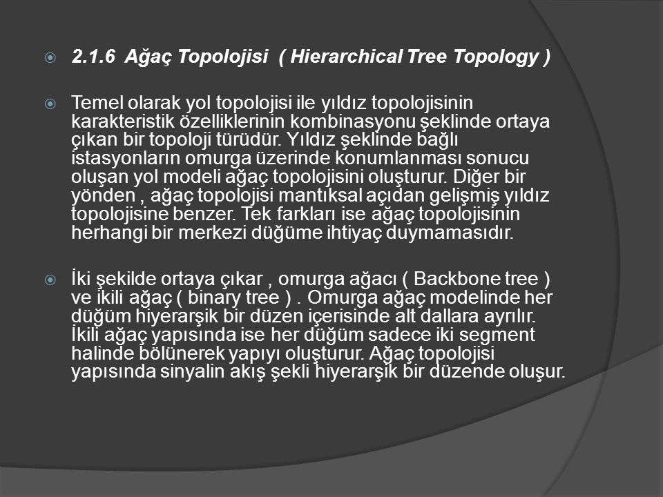 2.1.6 Ağaç Topolojisi ( Hierarchical Tree Topology )