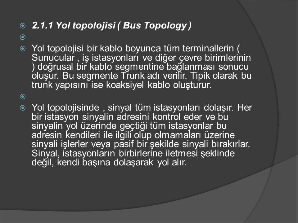 2.1.1 Yol topolojisi ( Bus Topology )