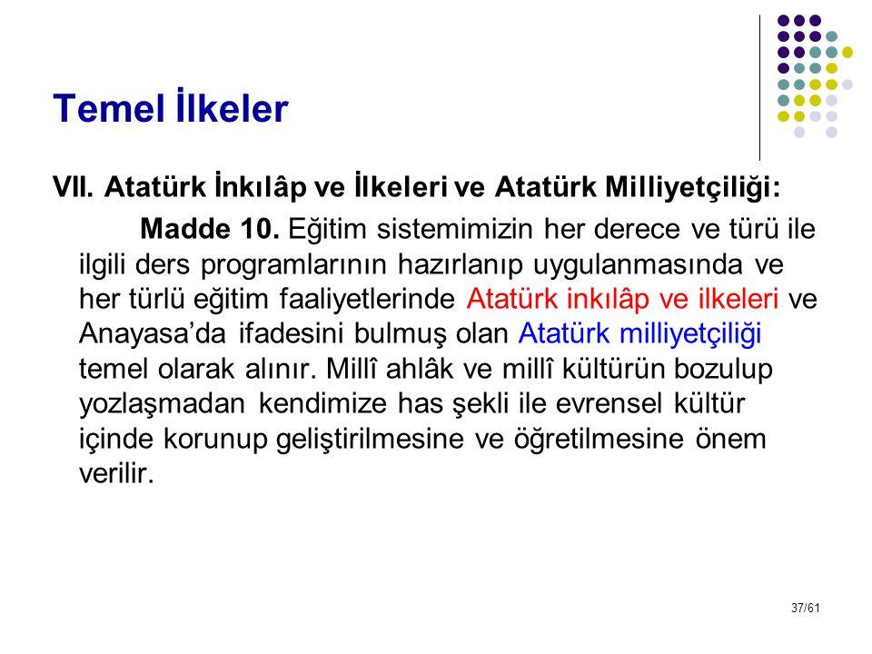 Temel İlkeler VII. Atatürk İnkılâp ve İlkeleri ve Atatürk Milliyetçiliği: