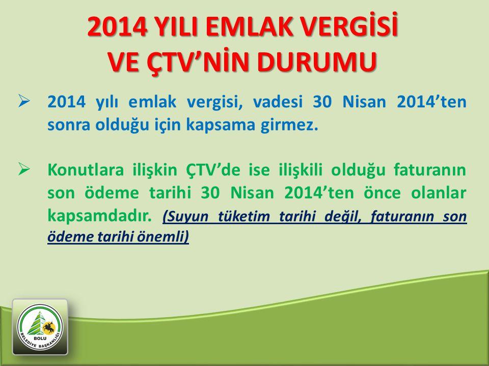 2014 YILI EMLAK VERGİSİ VE ÇTV'NİN DURUMU