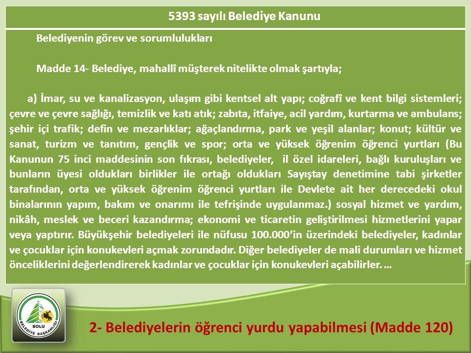 2- Belediyelerin öğrenci yurdu yapabilmesi (Madde 120)