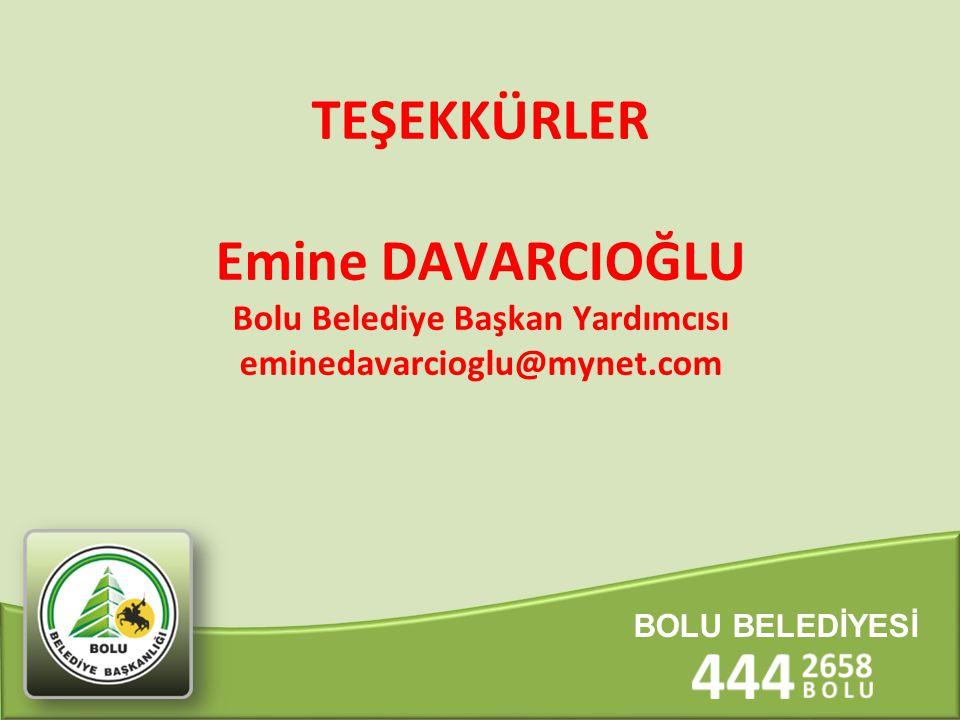 TEŞEKKÜRLER Emine DAVARCIOĞLU Bolu Belediye Başkan Yardımcısı eminedavarcioglu@mynet.com