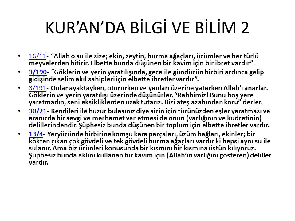 KUR'AN'DA BİLGİ VE BİLİM 2