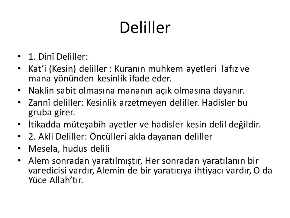 Deliller 1. Dinî Deliller:
