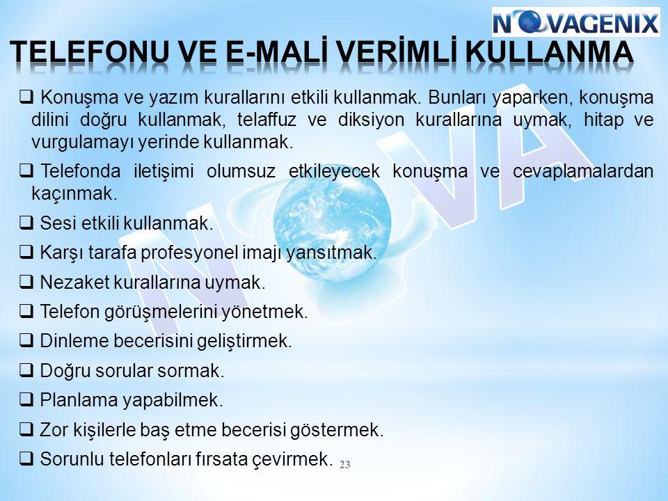 TELEFONU VE E-MALİ VERİMLİ KULLANMA