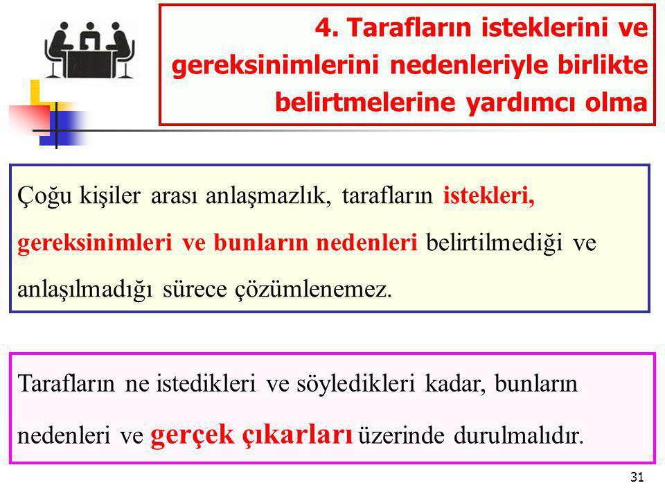 4. Tarafların isteklerini ve gereksinimlerini nedenleriyle birlikte belirtmelerine yardımcı olma