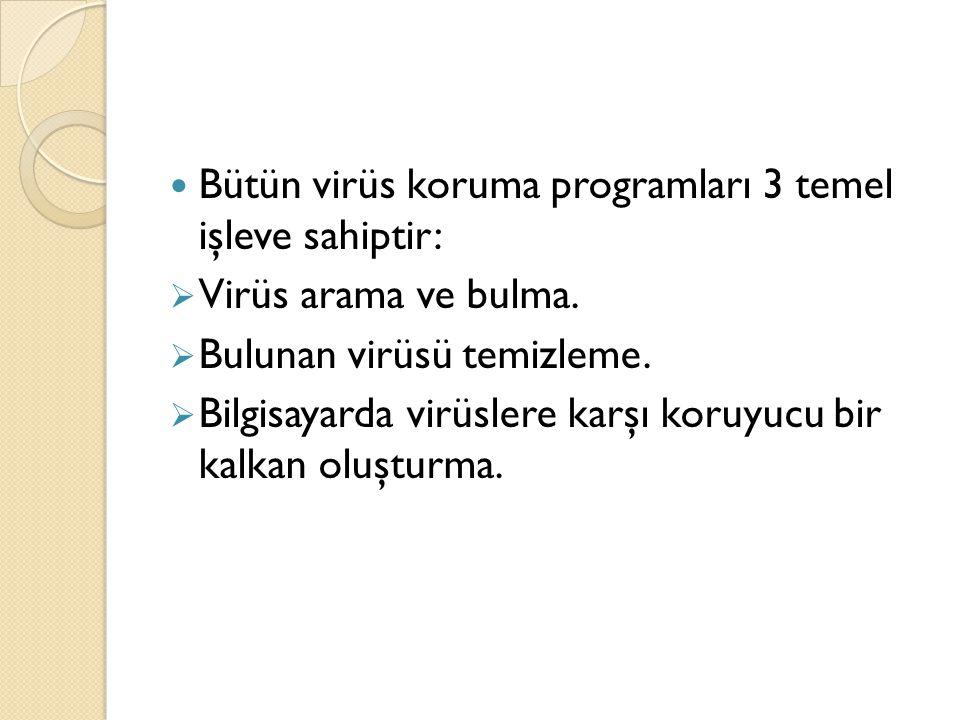 Bütün virüs koruma programları 3 temel işleve sahiptir: