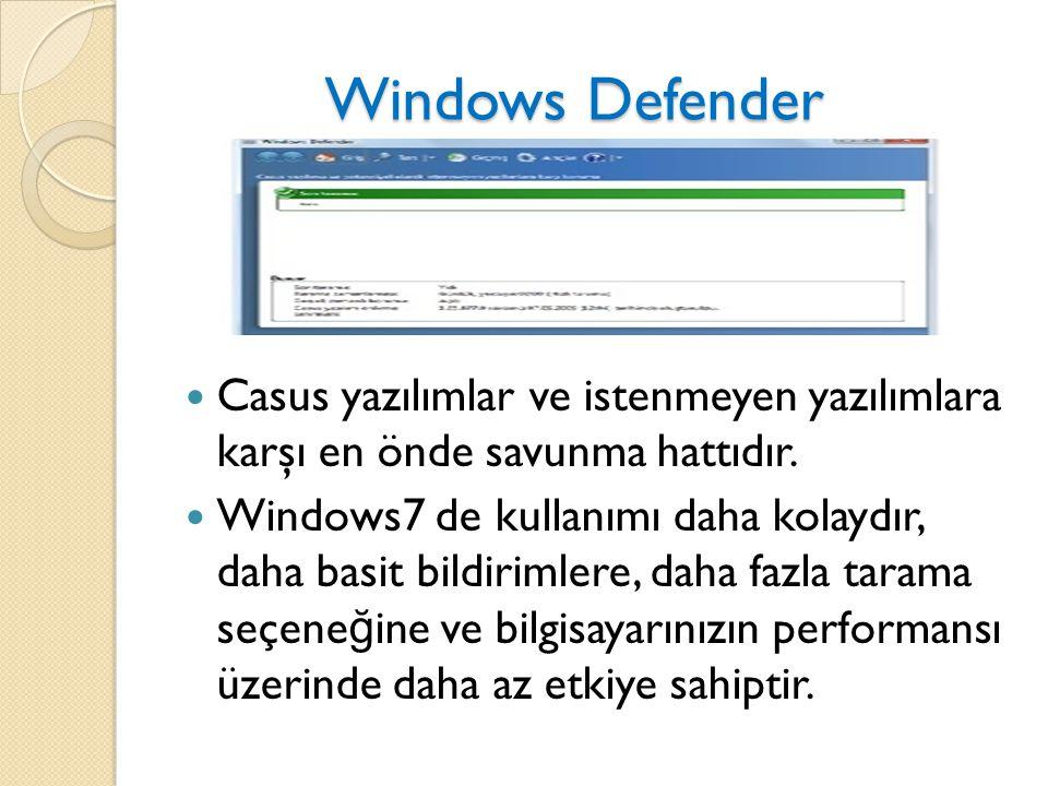 Windows Defender Casus yazılımlar ve istenmeyen yazılımlara karşı en önde savunma hattıdır.