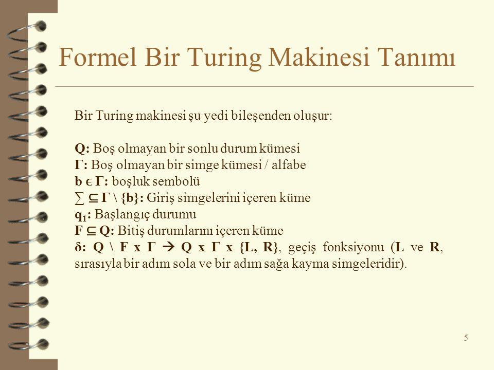 Formel Bir Turing Makinesi Tanımı