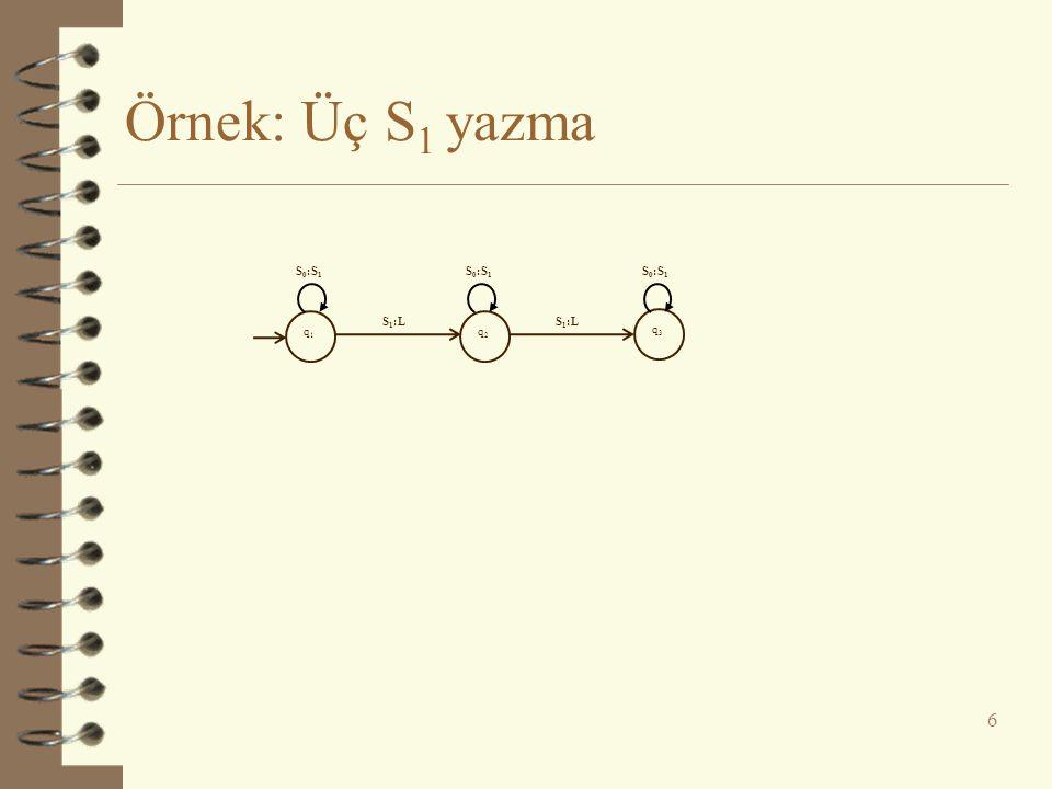 Örnek: Üç S1 yazma S0:S1 S0:S1 S0:S1 q1 S1:L q2 S1:L q3