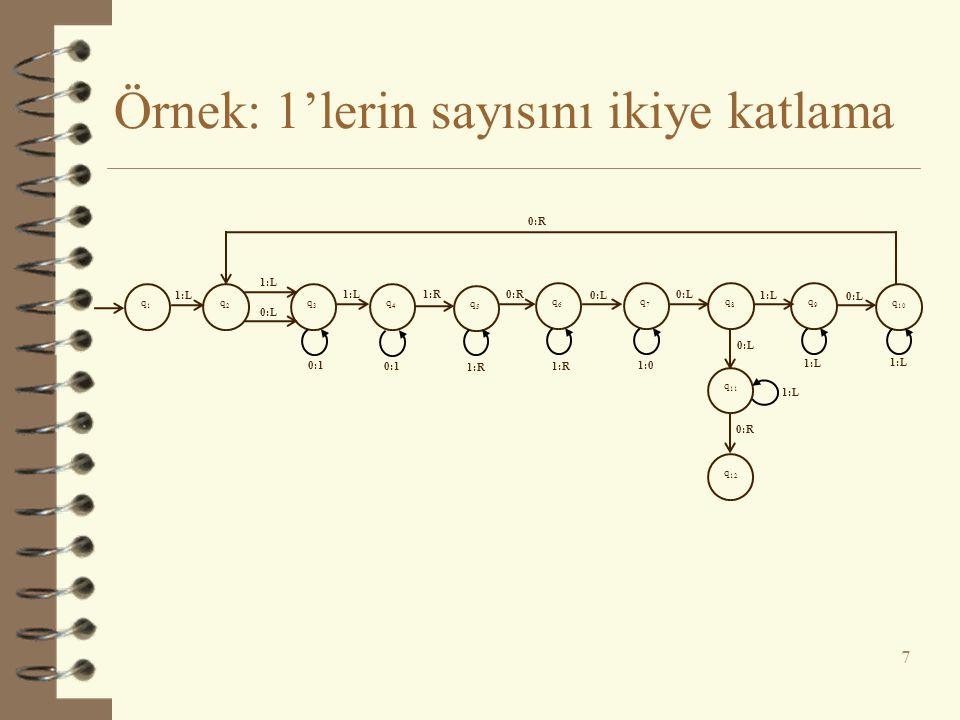 Örnek: 1'lerin sayısını ikiye katlama
