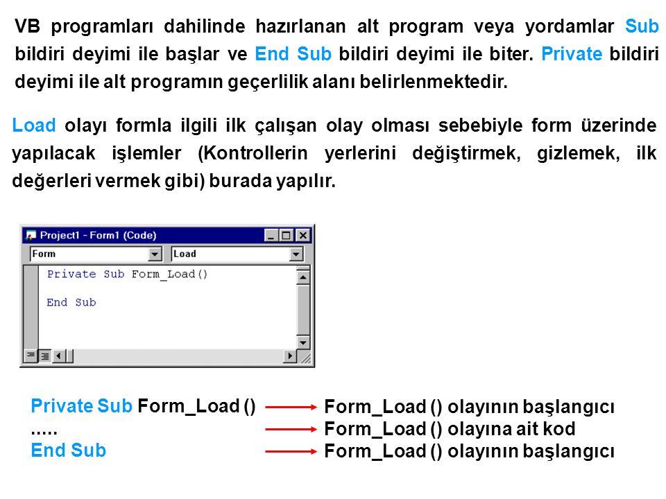 VB programları dahilinde hazırlanan alt program veya yordamlar Sub bildiri deyimi ile başlar ve End Sub bildiri deyimi ile biter. Private bildiri deyimi ile alt programın geçerlilik alanı belirlenmektedir.