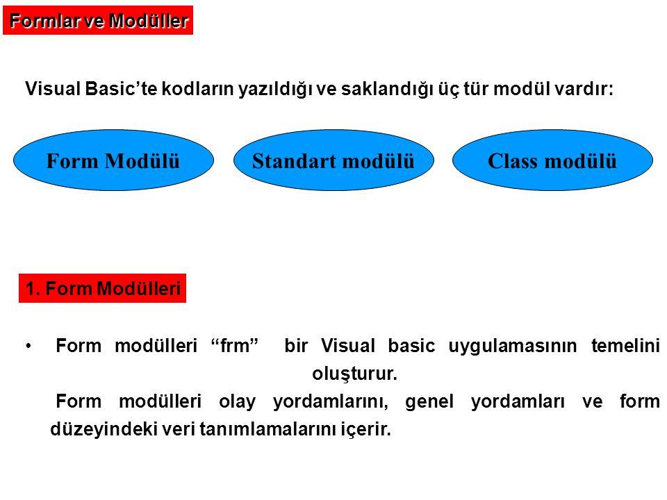 Form Modülü Standart modülü Class modülü