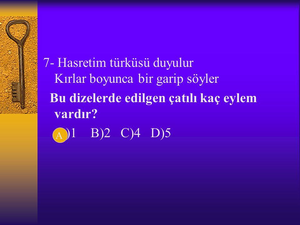 7- Hasretim türküsü duyulur Kırlar boyunca bir garip söyler