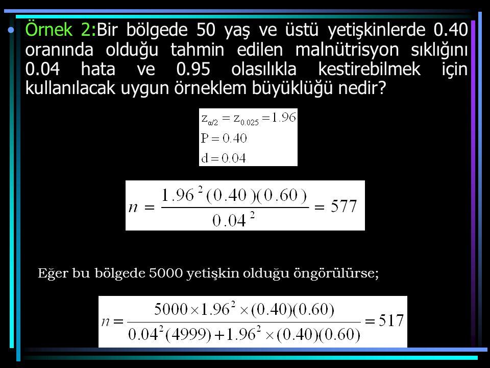 Örnek 2:Bir bölgede 50 yaş ve üstü yetişkinlerde 0