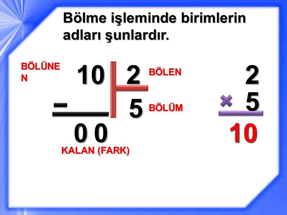 10 2 2 5 5 10 10 Bölme işleminde birimlerin adları şunlardır. BÖLÜNEN